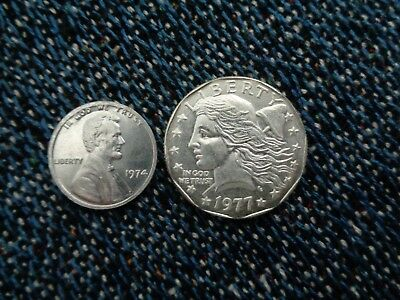 US 1974 Aluminum One Cent And 1977 $1 Proposed Pattern 2 Coins Fantasy Issue!