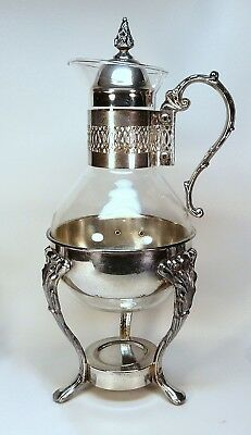 "vintage silver plate carafe with stand and Corning glass 14-1/2"" high"
