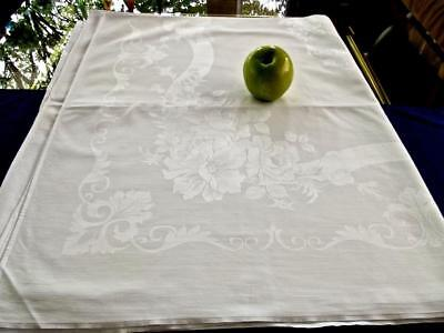 Antique French Cotton-Linen 50x82 Tablecloths Lush Damask Rosses Poppies Scrolls