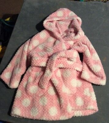 Girls Pink Towelling Bath Robe / Dressing Gown Age 1-1&1/2 Years