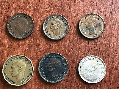 Lot of 6 GeorgeV&VI WWII 6P NZealand 3CanadianPennies 3P VCents Tombac Circltd