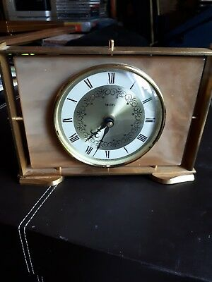 Vintage Smiths mantle clock with marble and brass mounts