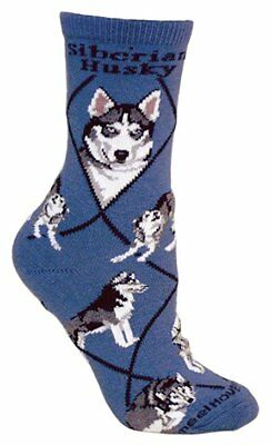 Siberian Husky Dog Breed Blue Lightweight Stretch Cotton Adult Socks