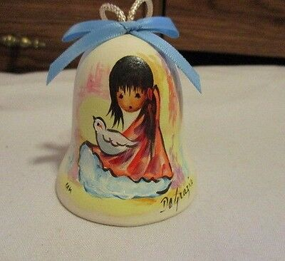 "DEGRAZIA Handpainted Pottery Bell with Crystal Clanger Girl with Dove 3"" T  1983"