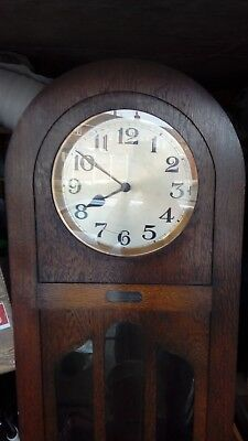 LONGCASED CLOCK 1930's ART DECO WITH WESTMINSTER CHIMES MOVEMENT WITH 3 WEIGHTS.