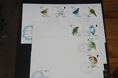 Niue 1992 Birds Set Of 8 On 4 First Day Covers Excellent Cond
