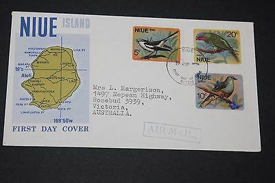 Niue 1971 Birds Set Of 3 On Airmail First Day Cover To Australia