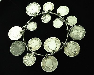 Heavy Antique Silver Victorian British & Foreign Coin Charm Bangle Bracelet