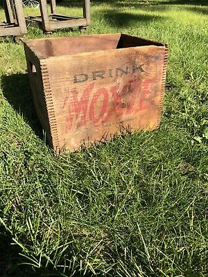 Vintage Used Drink Moxie Wood Beverage Advertising Crate Wooden Shipping Box