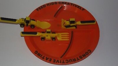 Constructive Eating Construction Plate with Construction Utensil Set EUC