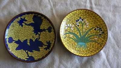 Lot 16 - 2 Vintage Chinese Cloisonne Enamel Floral Pin Tray Trinket Dishes