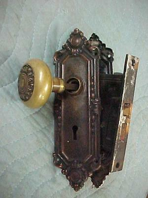 Pair VICTORIAN GOTHIC AESTHETIC  Brass Door Knobs, with Back plates
