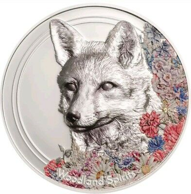 2018 1 Oz PROOF Silver 500 Togrog WOODLAND SPIRITS FOX Coin.  ON HANDS.