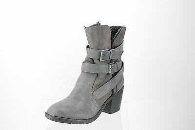 8c55bddf1b Report Yurick Gray Leather Harnessed Ankle Boots Women s Shoes Size 11 M NEW