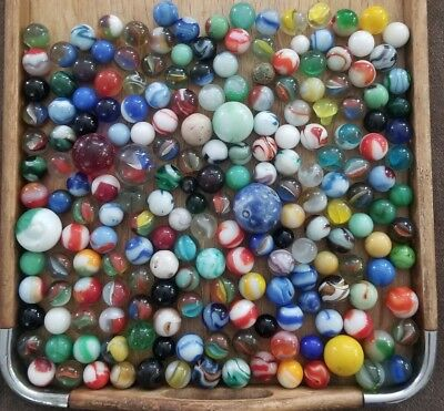 200 Marbles Vintage Hand Made Antique Mineral Agate Style Akro Peltier CAC MK