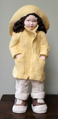 Austin Hand Painted Clay Sculpture Signed Daze Stormy Weather Yellow Slicker '86