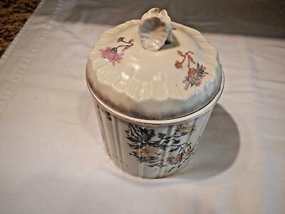 Vintage / Antique Porcelain Biscuit Cookie Cracker Jar  Beautiful And Perfect