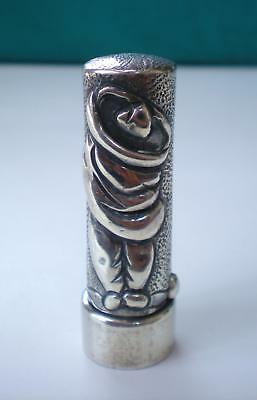 Vintage  Ingrid's Silver Lipstickcase/holder-Relief Man & Woman Figures