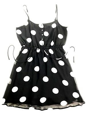 ec47fb2ba3 Forever 21 Women s Black White Polka Dot Draw String Waist Sun Dress Size L