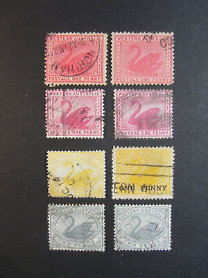 WA Swan stamps 1d red x 4, 2d yellow, 1d on 2d yellow, 2d grey x 2 1885-1912