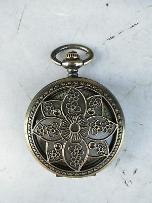 Collection China Handmade Copper Hollow Out Flower Pattern Pocket Watch