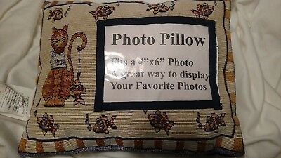 Cat print pillow with Insert For A 4x6 Photo orange other cat with fish