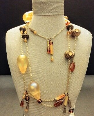 FANTASTIC Vintage Necklace! Huge Beads Handblown AB Glass, Metal, Celluloid 64""