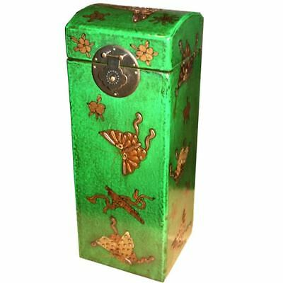 Deluxe Wine Box -  Green  Embossed Butterfly Painted Box New (WB-1G-BF)