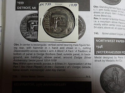 Hk-739 Dodge Motors Brothers 1939 Official Commemorative Medal