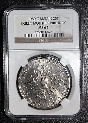 Gr. Britain 1980 25 New Pence Queen Birthday Ngc Ms-64