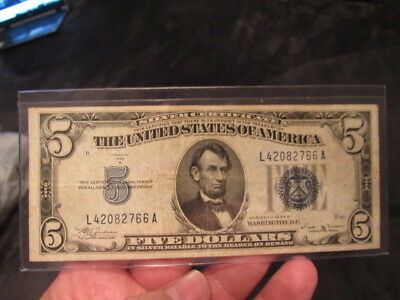 Vintage $5 1934-B Silver Certificate Five Dollar Bill Lincoln Blue Seal Vinson