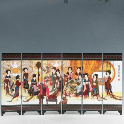 Exquisite Chinese Lacquerware Handwork Painting Joan Tower Pure Charm Screen