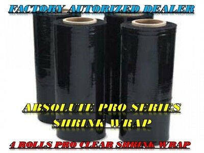 "A/T 18"" x 1500' 80 Ga 4 Rolls Pallet Wrap Stretch Film  Shrink Wrap 1500FT Black"