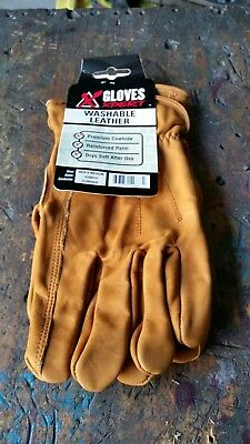 Four Pairs Leather Work Gloves Medium