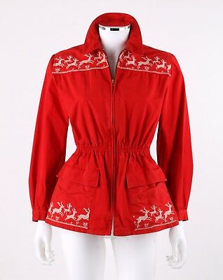 Vtg MOUNTAINEER CLOTH c.1940's - 1950's Red Gaberdine Stag Deer Coat Jacket