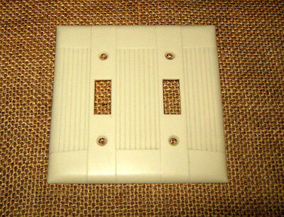 Vintage Art Deco Ribbed EAGLE Ivory Two Gang Switch Plates