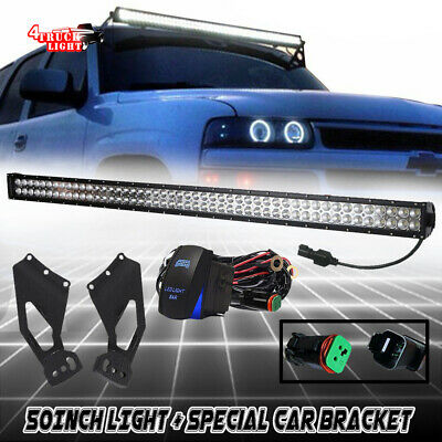 DT 50inch Curved LED Light Bar+Roof Mounting Bracket Chevy Silverado GMC Sierra