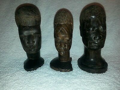 Set Of Real Ebony Wood Hand Carved By Makonde Wooden Heads