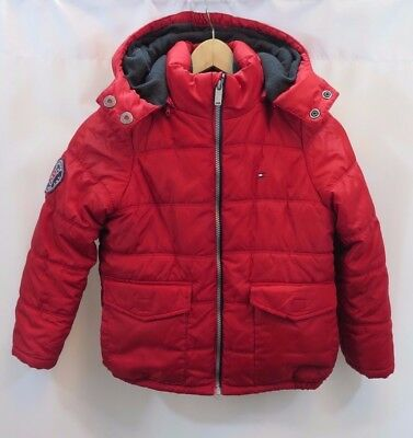 937dd88cc TOMMY HILFIGER BOYS Winter Coat Small Size 8 Red Blue Hooded Large ...