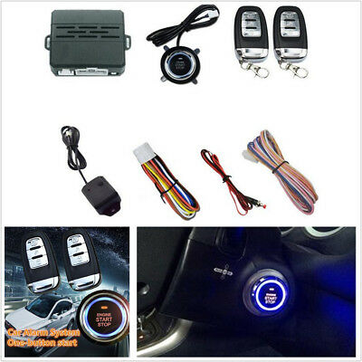 Car Alarm Security System Keyless Engine Ignition Start Push Button Remote Kit