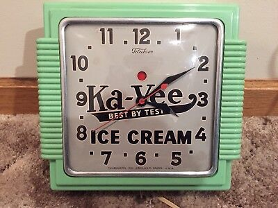 Vintage Telechron Ka-Vee Ice Cream Clock Jadeite Body Sign