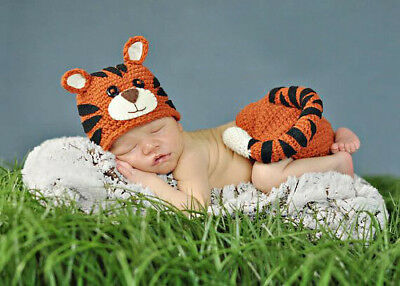 Tiger Outfit Crochet Knit Newborn Baby Boys Tiger Costume Photo Props