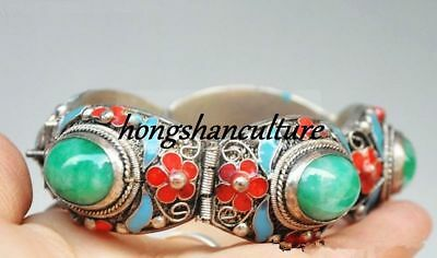 Exquisitely Tibet Dynasty Palace Cloisonne Silver Inlaid Jade Bracelet