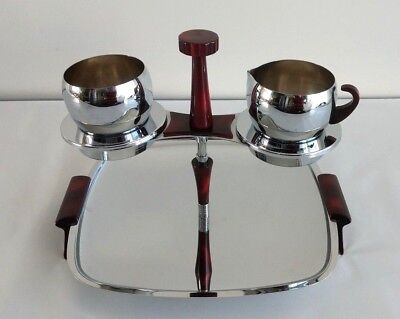 Vintage Glo-Hill Gourmates ServingPlatter Stainless Steel Tray Bakelite Set of 2