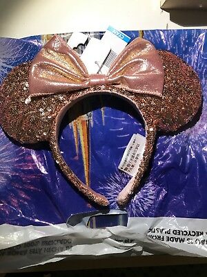 BNWT Authentic Disneyland DLR Disney Parks Rose Gold Minnie Mouse Ears Headband