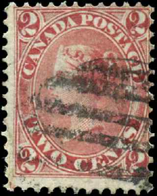 Canada #20 used VG-F 1859 First Cents 2c rose Queen Victoria CV$150.00