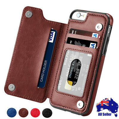 Leather Card Case Flip cover For iPhone 6S 7 8 XR XS Max Samsung S7 S8 S9 Note 9