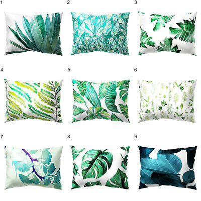 Tropical Green Leaves Rectangle Pillow Case Cushion Cover Sofa Home Decor Deluxe