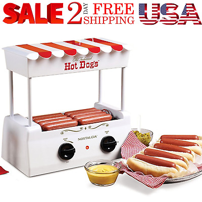 Hot Dog Roller Grill Steamer Nostalgia Bun Warmer Home Dinner Cooking Machine US