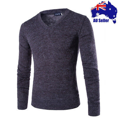 Men's V Neck Slim fit Cotton Jumper Sweater Sweatshirt Knitted Pullover Casual